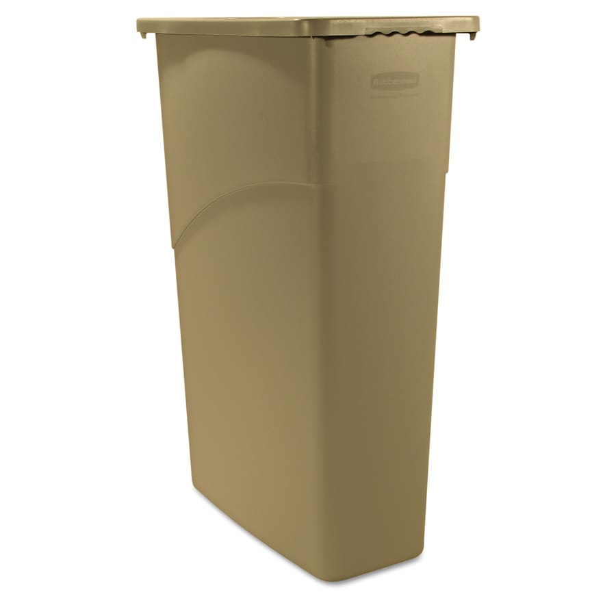 Rubbermaid Commercial Products Slim Jim 23-Gallon Beige Plastic Commercial Touchless Trash Can