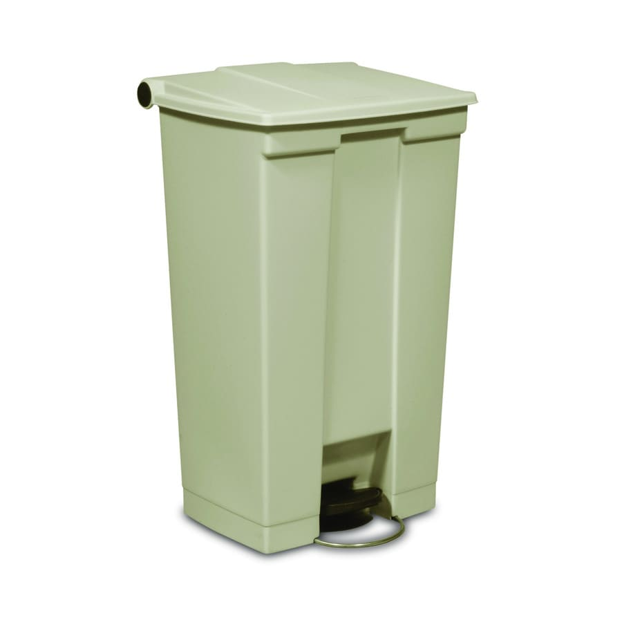 Rubbermaid Commercial Products Mobile Step-On 23-Gallon Beige Plastic Wheeled Touchless Trash Can with Lid