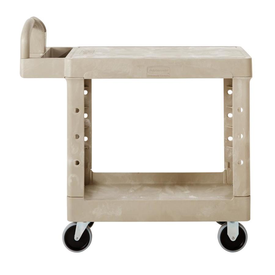 Go Home Black Industrial Kitchen Cart At Lowes Com: Rubbermaid Commercial Products 33.3333-in Utility Cart At