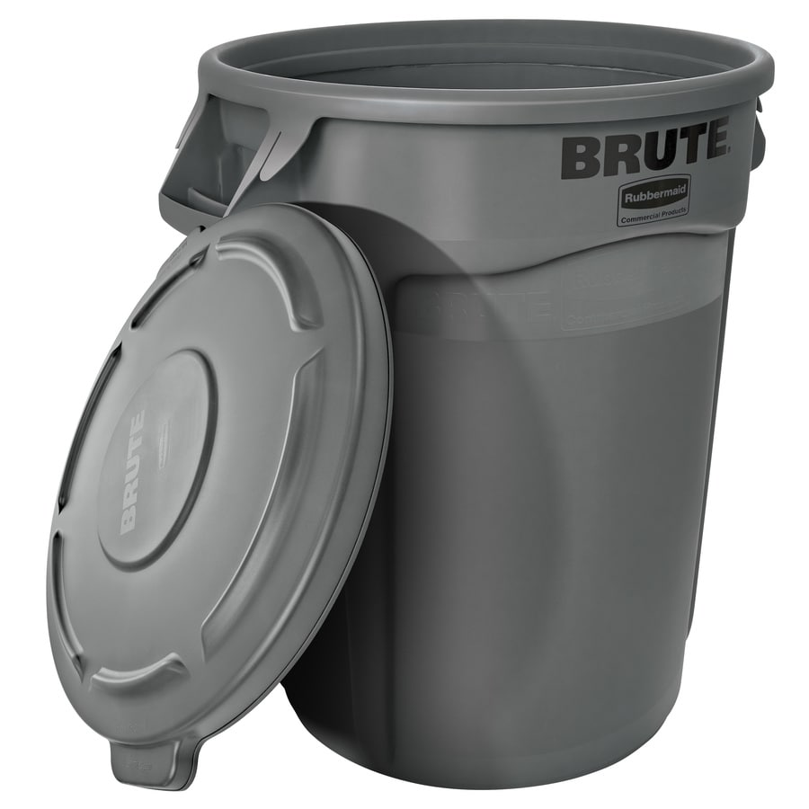 Rubbermaid Commercial Products BRUTE Vented 32-Gallon Gray Plastic   Trash Can with Lid