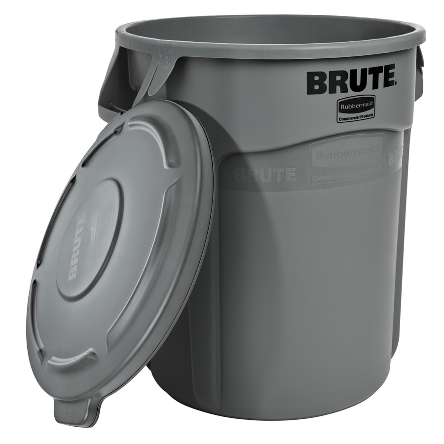 Rubbermaid Commercial Products Brute Vented 20-Gallon Gray Plastic Trash Can with Lid
