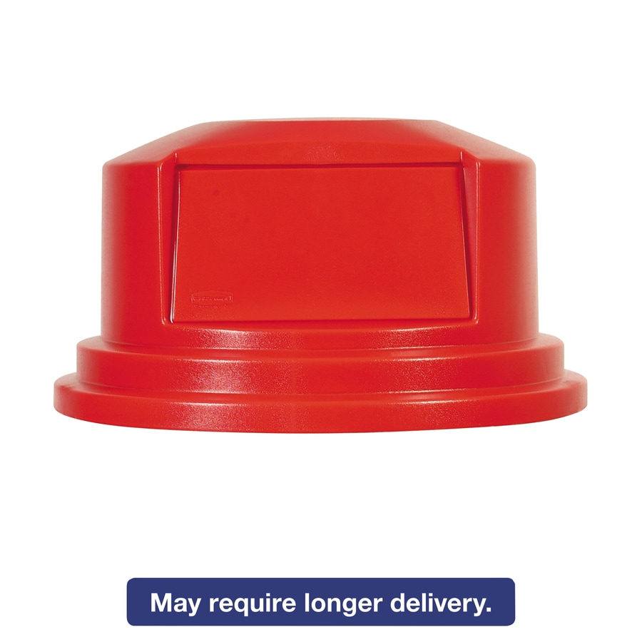 Rubbermaid Commercial Products Red Plastic Outdoor Trash Can Lid