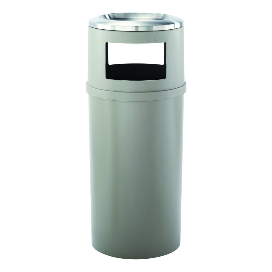 Rubbermaid Commercial Products Ash/Trash 25-Gallon Beige Outdoor Garbage Can Lid(S) Included