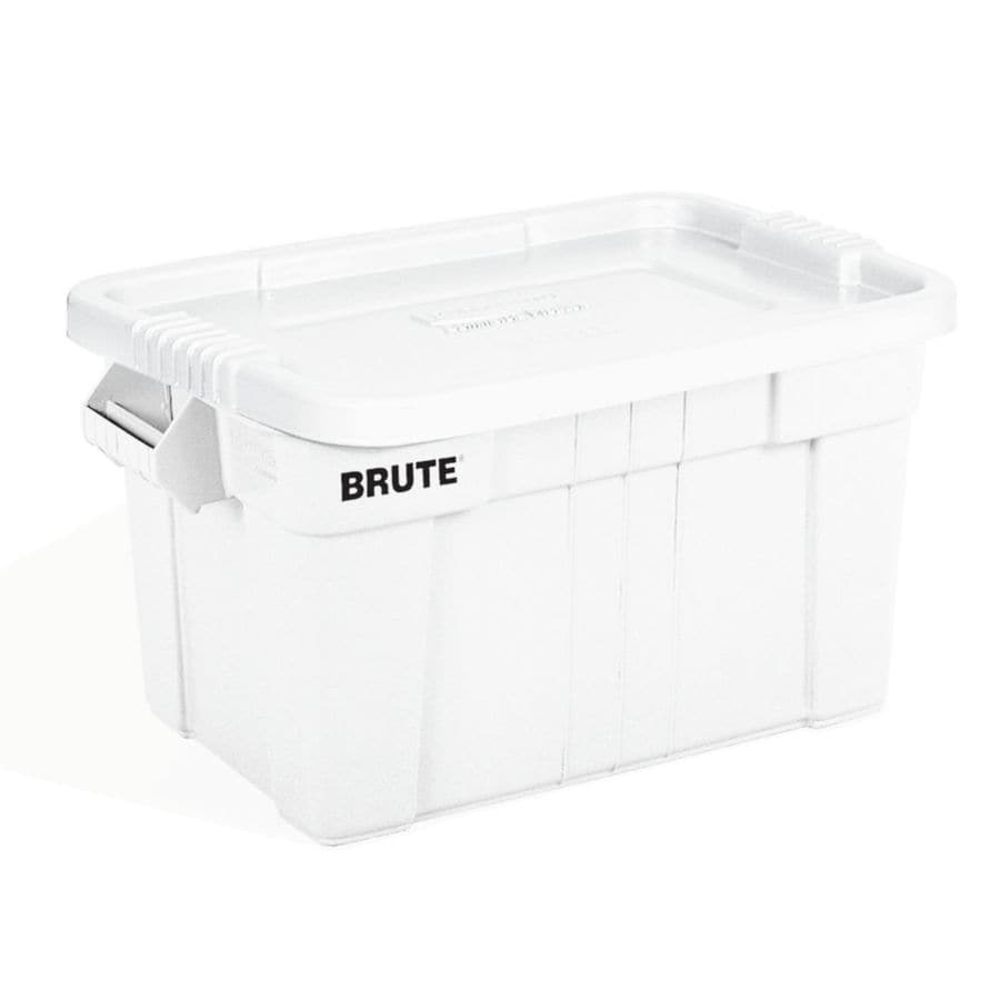 Rubbermaid Commercial Products BRUTE 20-Gallon White Tote with Standard Snap Lid