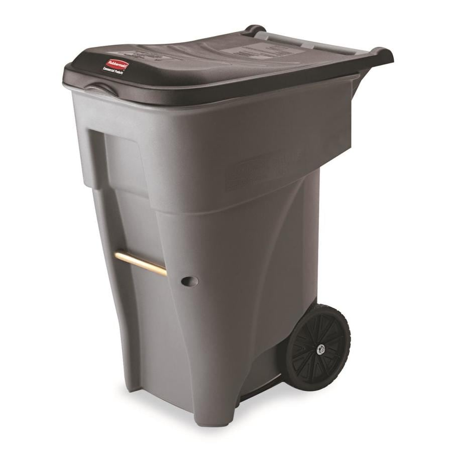 Rubbermaid Commercial Products Brute Rollout 65-Gallon Gray Outdoor Wheels Garbage Can Lid(S) Included
