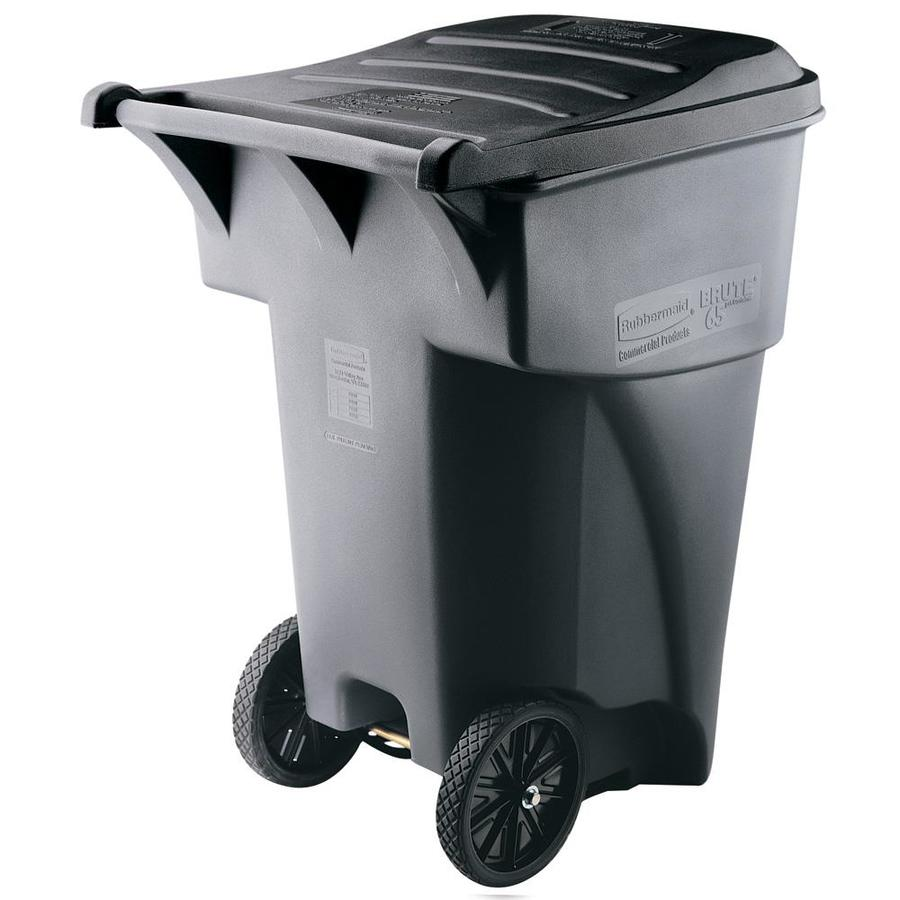 rubbermaid commercial products brute rollout 95 gallon gray plastic outdoor wheeled trash can with lid - Commercial Garbage Cans