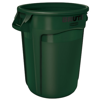 BRUTE 32-Gallon Green Plastic Trash Can with Lid