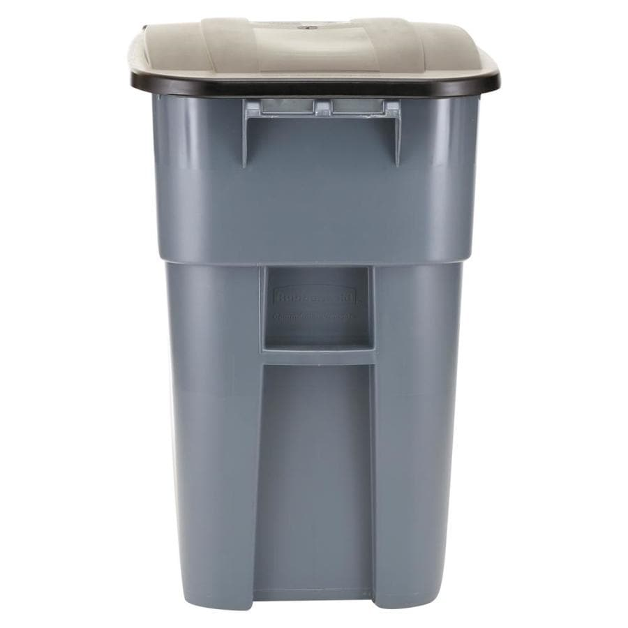 Rubbermaid Commercial Products Brute 50-Gallon Gray Plastic Commercial Outdoor Wheeled Trash Can with Lid