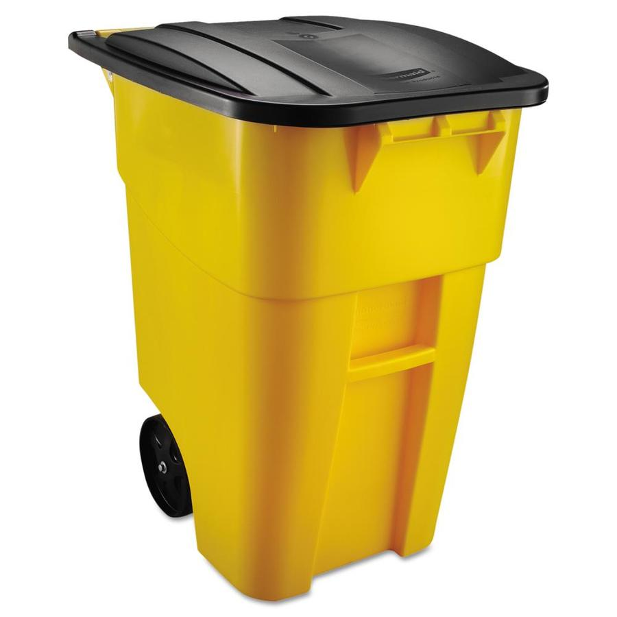 rubbermaid commercial products brute 50 gallon yellow plastic commercial outdoor wheeled trash can with lid - Commercial Garbage Cans