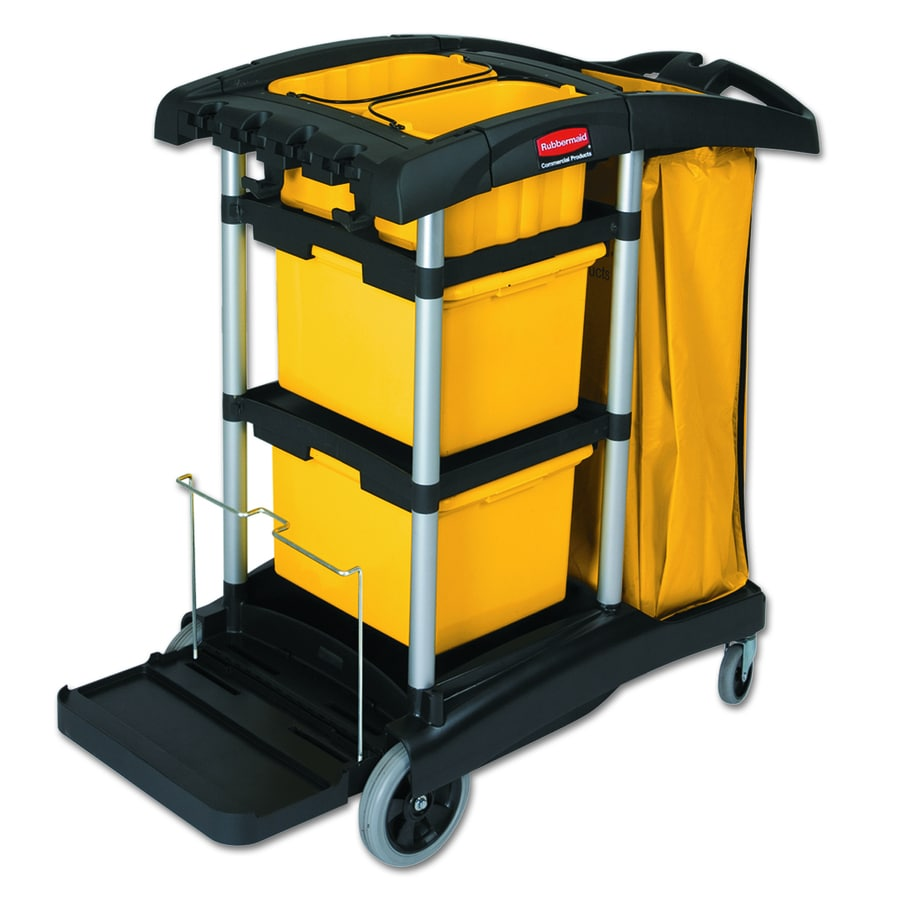 Go Home Black Industrial Kitchen Cart At Lowes Com: Shop Rubbermaid Commercial Products Black/Yellow/Silver