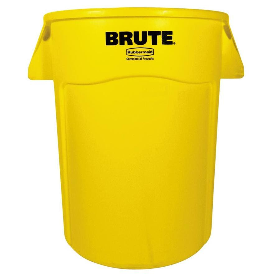 Rubbermaid Commercial Products Brute 44-Gallon Yellow Plastic Trash Can