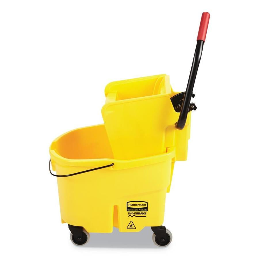 Rubbermaid Commercial Products WaveBrake 26-Quart Commercial Mop Wringer Bucket with Wheels