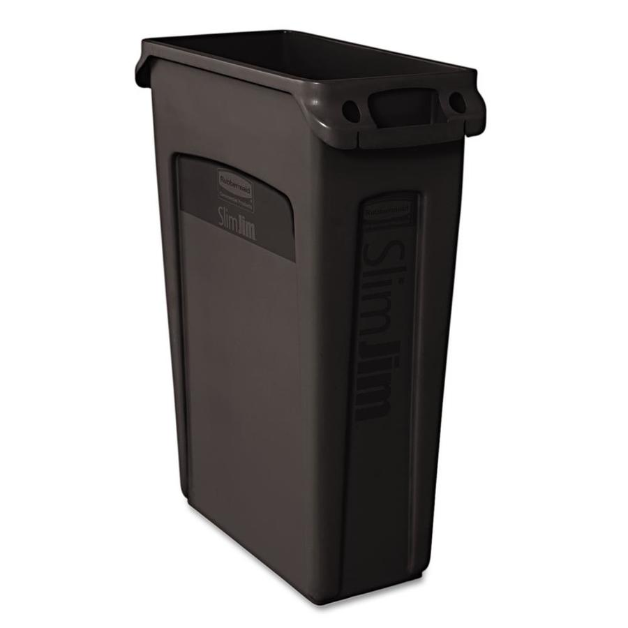 Rubbermaid Commercial Products Slim Jim 23-Gallon Black Plastic Commercial  Trash Can