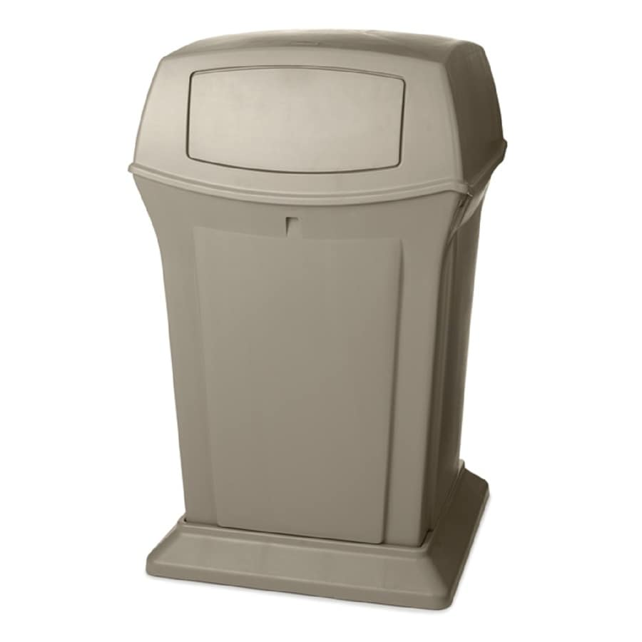 Rubbermaid Commercial Products Ranger 45-Gallon Beige Plastic Commercial Outdoor Trash Can with Lid