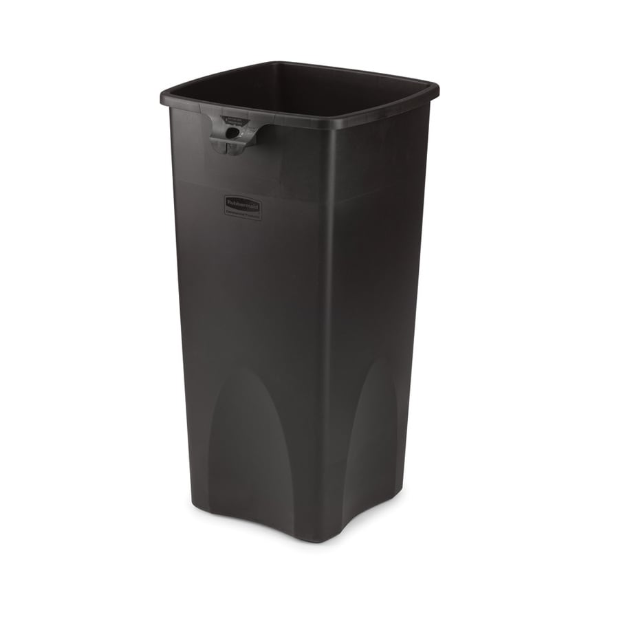 Rubbermaid Commercial Products Untouchable Square 23-Gallon Black Indoor/Outdoor Garbage Can