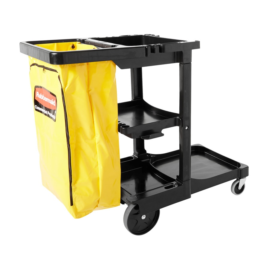 Go Home Black Industrial Kitchen Cart At Lowes Com: Rubbermaid Commercial Products 38.375-in Utility Cart At