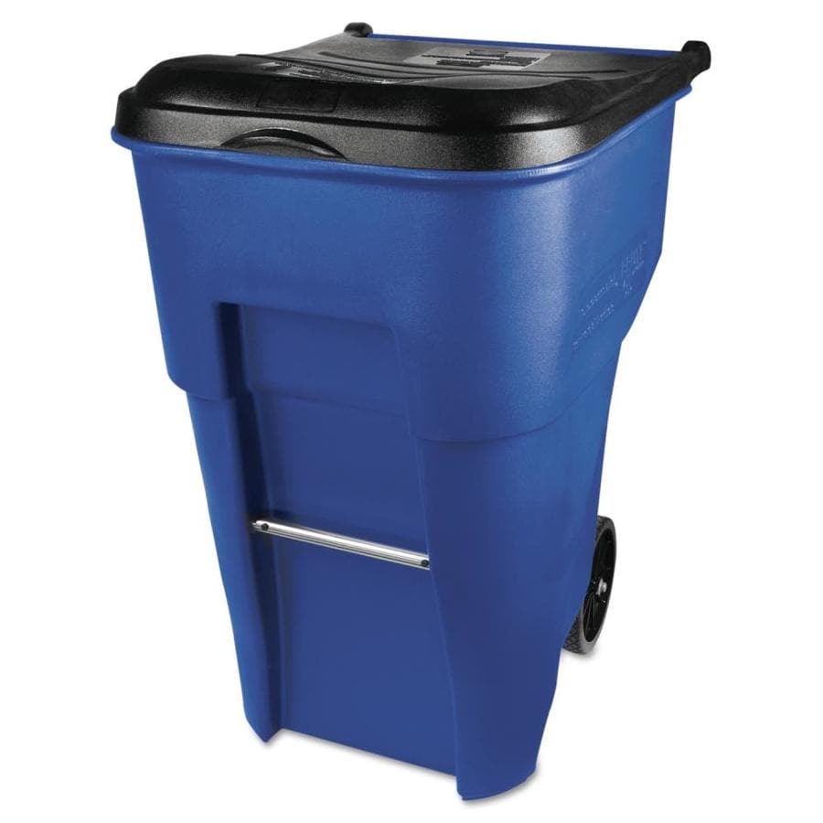 delightful Brute Garbage Can Lowes Part - 19: Rubbermaid Commercial Products Brute 95-Gallon Blue Plastic Wheeled Trash  Can with Lid