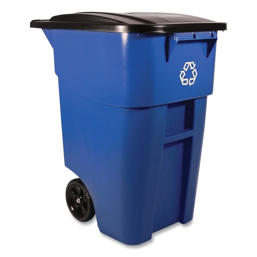 Rubbermaid Commercial Products Brute 50-Gallon Blue Commercial Outdoor Recycling Bin with Lid