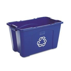 Rubbermaid Commercial Products 1 18 Gallon Blue Outdoor Recycling Bin