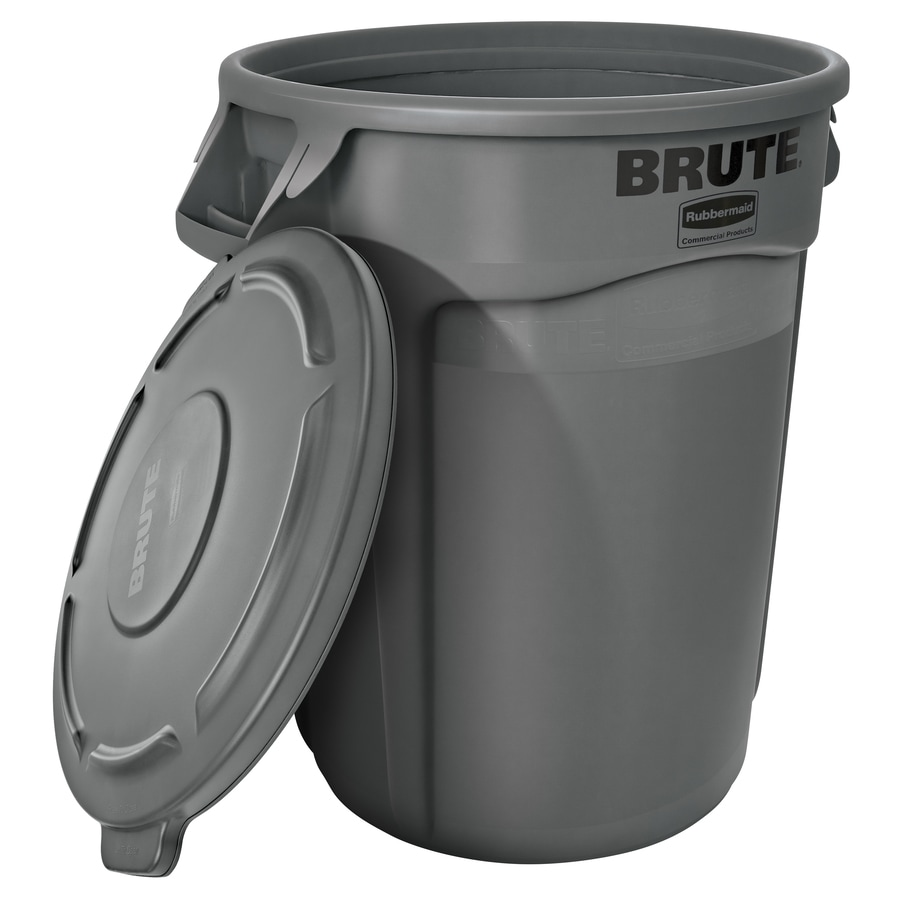 Rubbermaid Commercial Products Brute Vented 44-Gallon Gray Plastic Trash Can with Lid