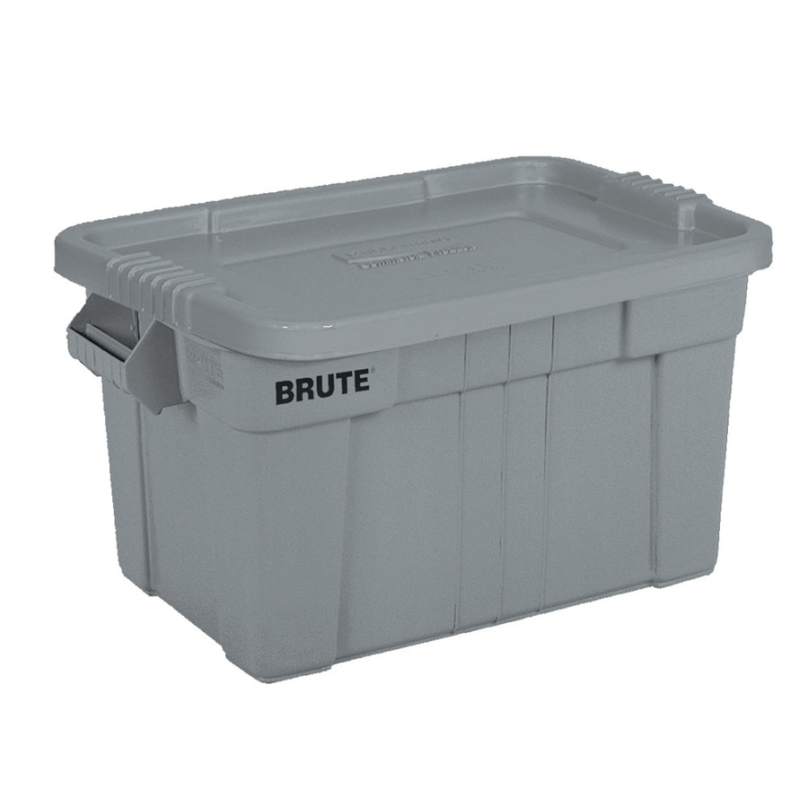 Recycled plastic storage boxes - Rubbermaid Commercial Products Brute 20 Gallon Gray Tote With Standard Snap Lid