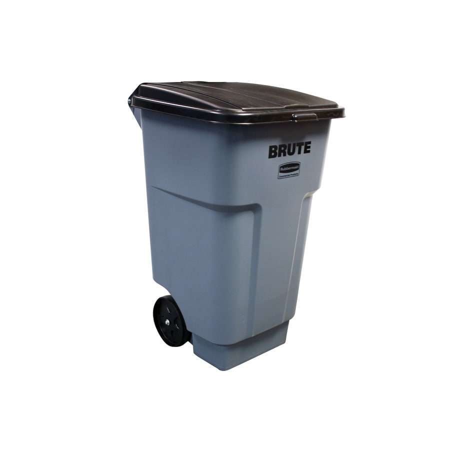 rubbermaid commercial products rollout 48gallon gray plastic outdoor wheeled trash can with lid