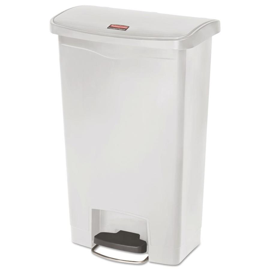 rubbermaid commercial products slim jim 13 gallon white plastic touchless trash can with lid at. Black Bedroom Furniture Sets. Home Design Ideas