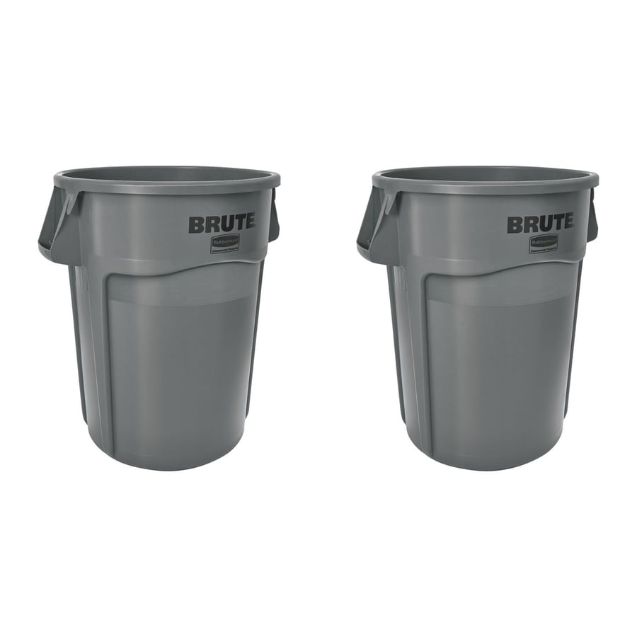 rubbermaid commercial products brute vented 44gallon gray plastic trash can with lid