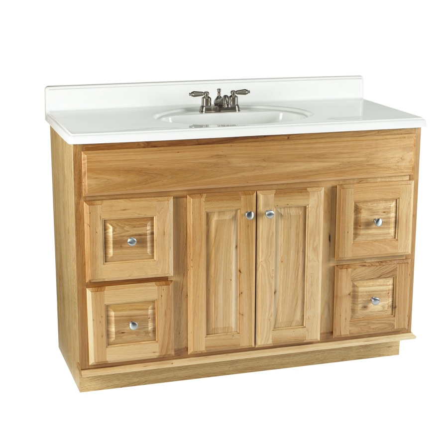 Shop allen roth 48 natural carson hickory natural bath for Bathroom cabinets natural wood