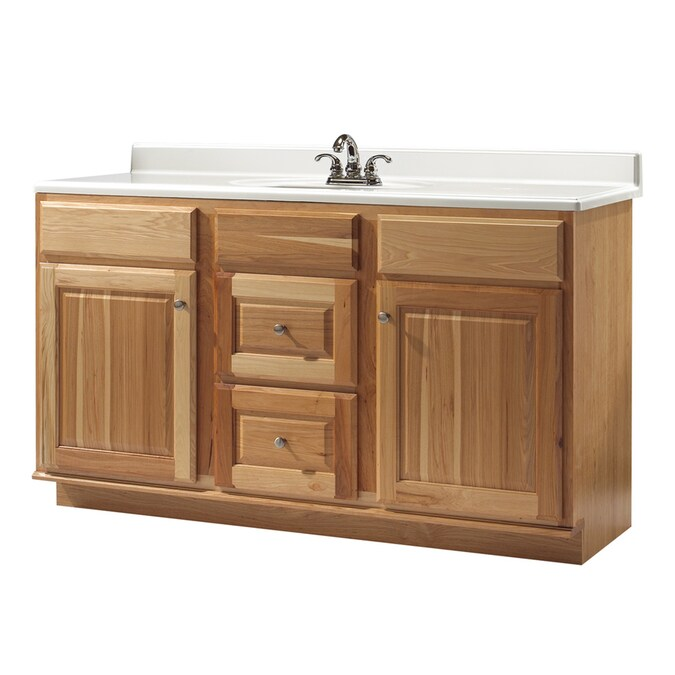 Allen Roth 60 Natural Hickory Carson Traditional Bath Vanity In The Bathroom Vanities Without Tops Department At Lowes Com