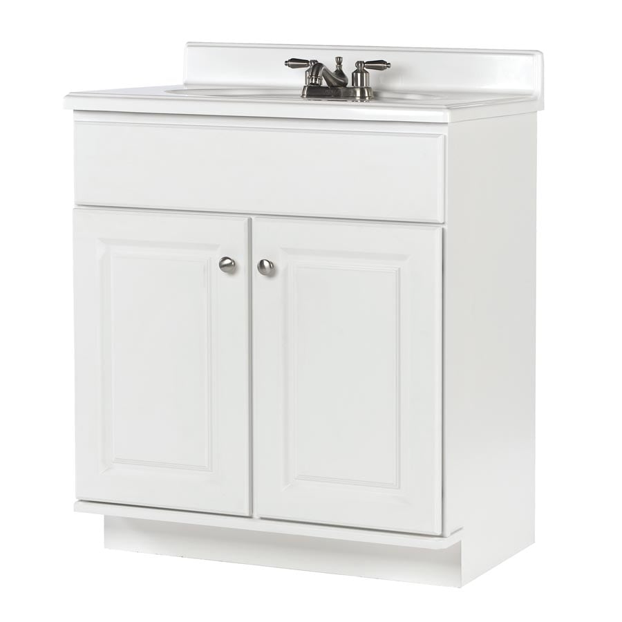 Allen Roth Castlebrook White Bathroom Vanity Actual 30 In X 21 In At