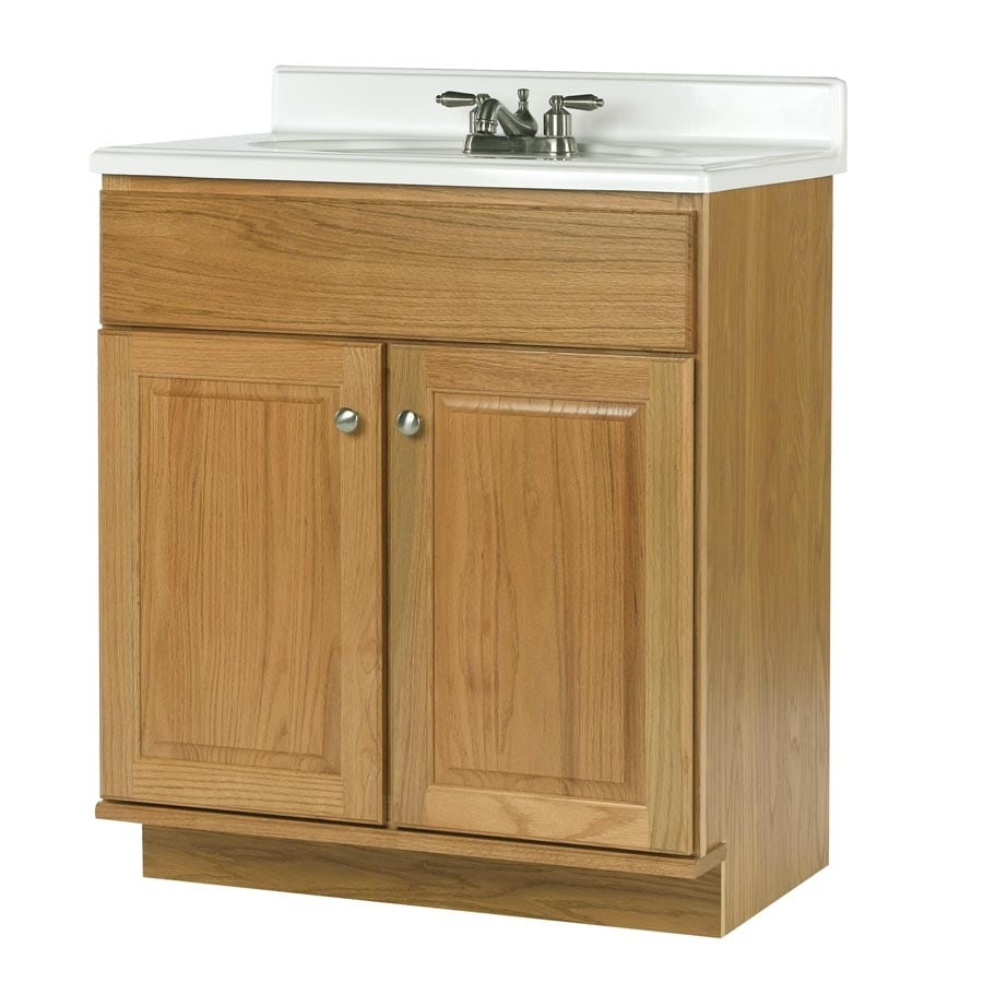 allen + roth Castlebrook Honey 30-in Traditional Bathroom Vanity