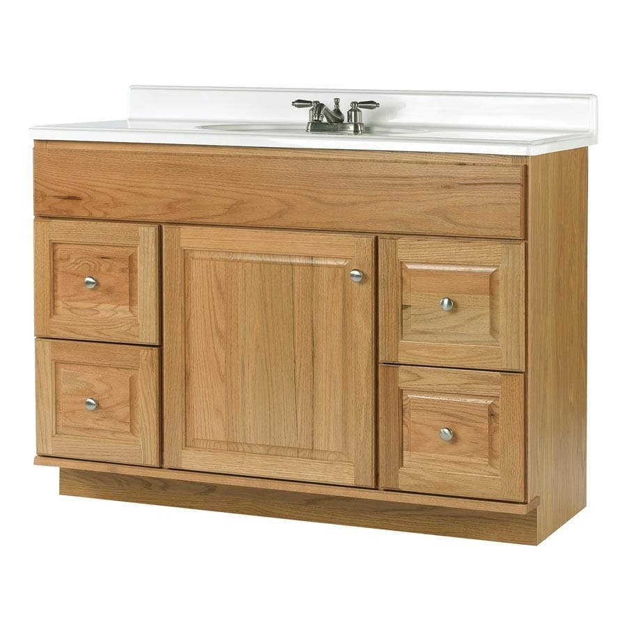 allen + roth Castlebrook Honey 48-in Traditional Bathroom Vanity