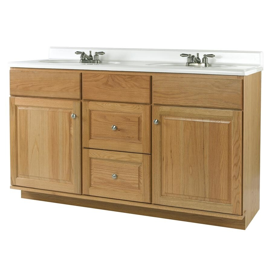 allen + roth Castlebrook Honey Bathroom Vanity (Actual: 60-in x 21-in)
