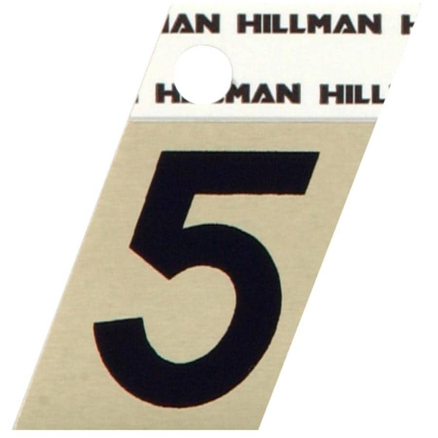 The Hillman Group 1.5-in Black and Gold House Number 5