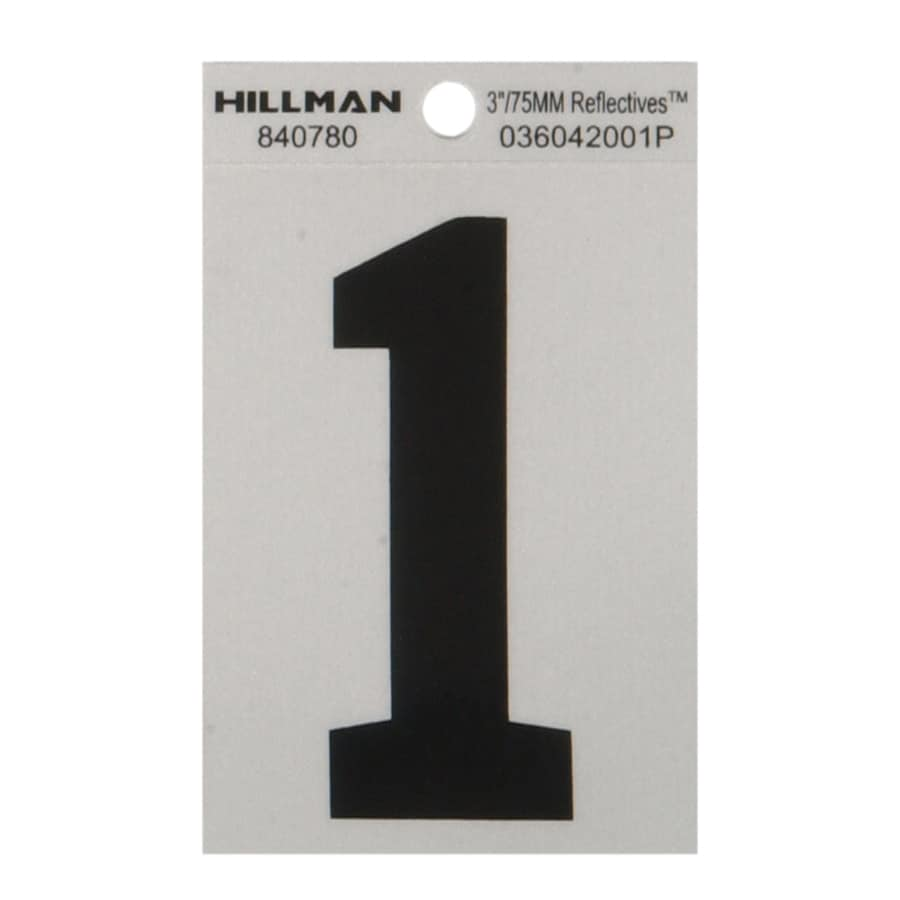 The Hillman Group 3-in Black and Silver Reflective House Number 1