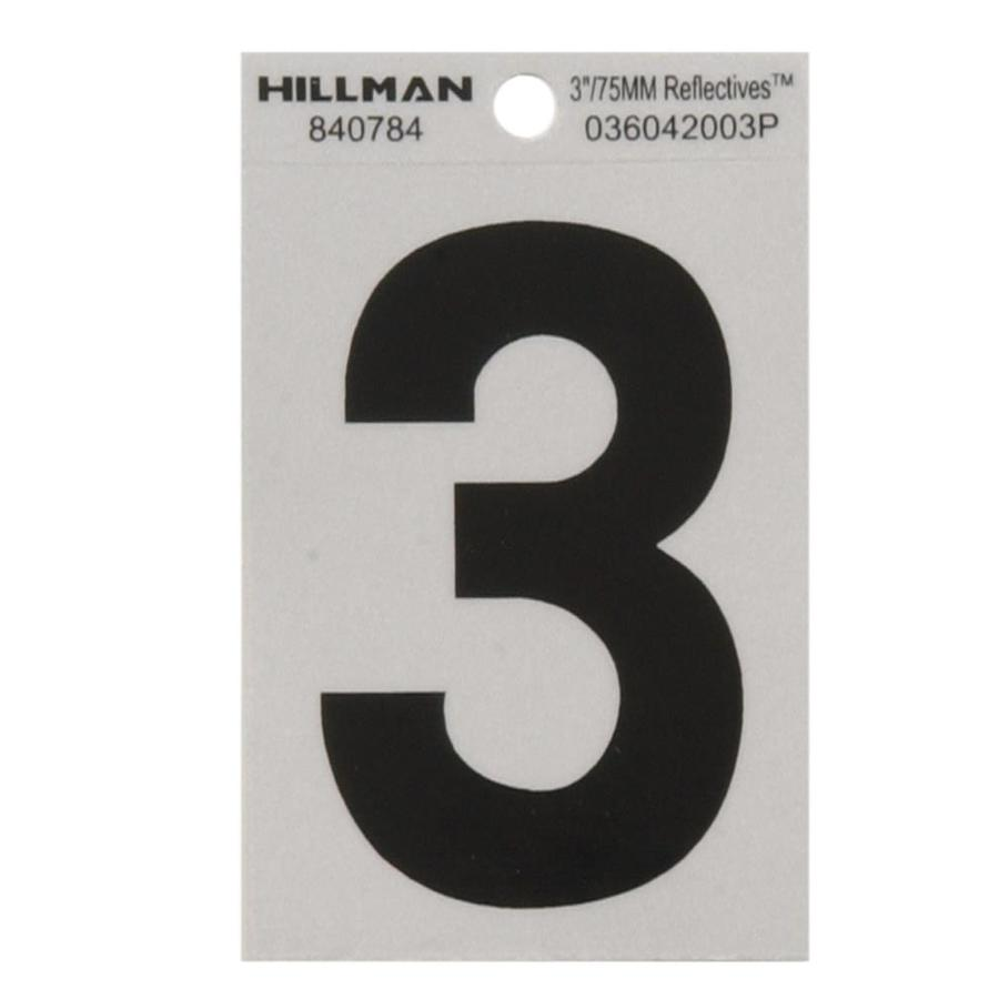 Hillman 3-in Black and Silver Reflective House Number 3