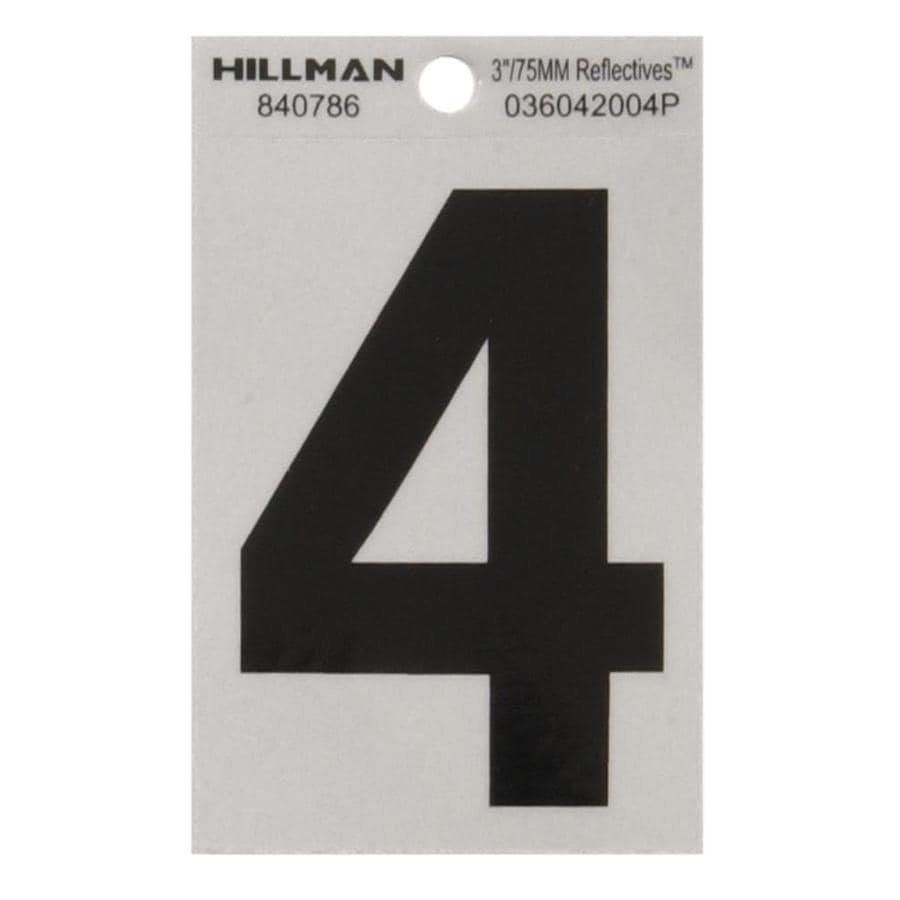 Hillman 3-in Black and Silver Reflective House Number 4