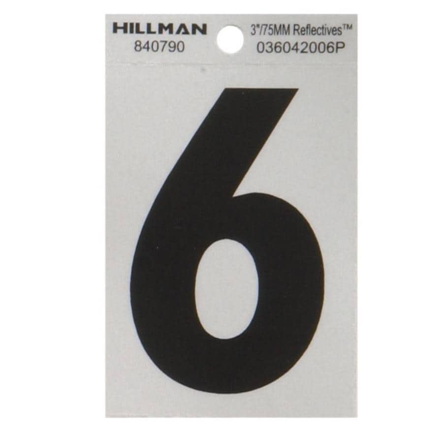Hillman 3-in Black and Silver Reflective House Number 6