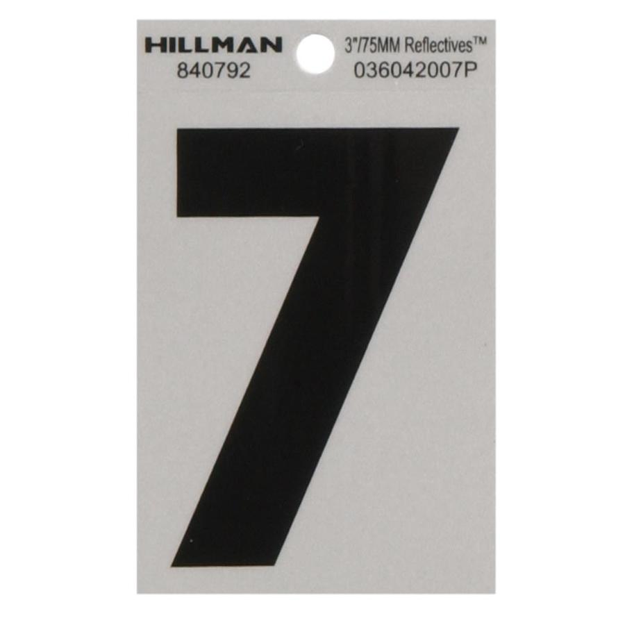 The Hillman Group 3-in Black and Silver Reflective House Number 7