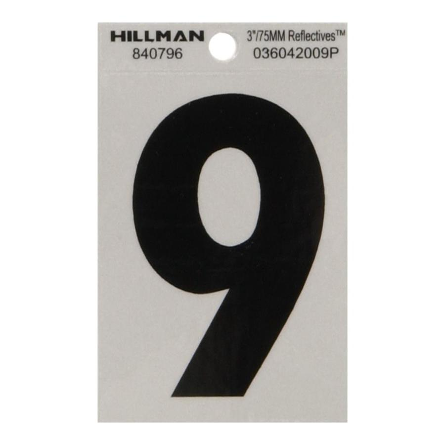 Hillman 3-in Black and Silver Reflective House Number 9