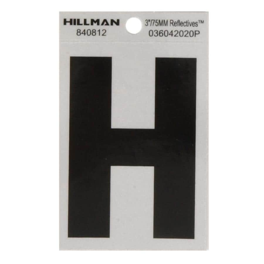 Hillman 3-in Black and Silver Reflective House Letter H