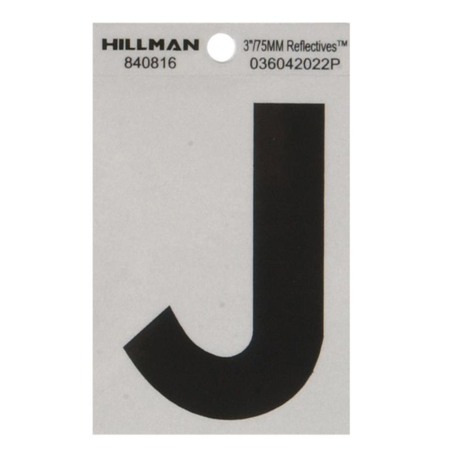 Hillman 3-in Black and Silver House Letter J