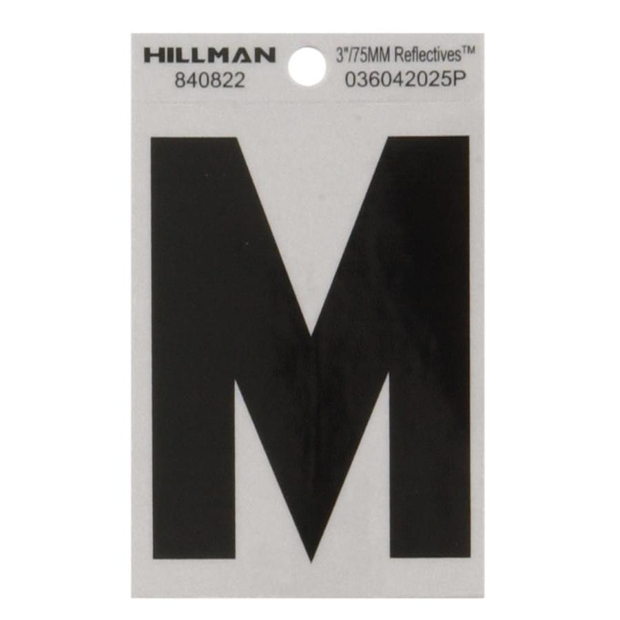 Hillman 3-in Black and Silver Reflective House Letter M