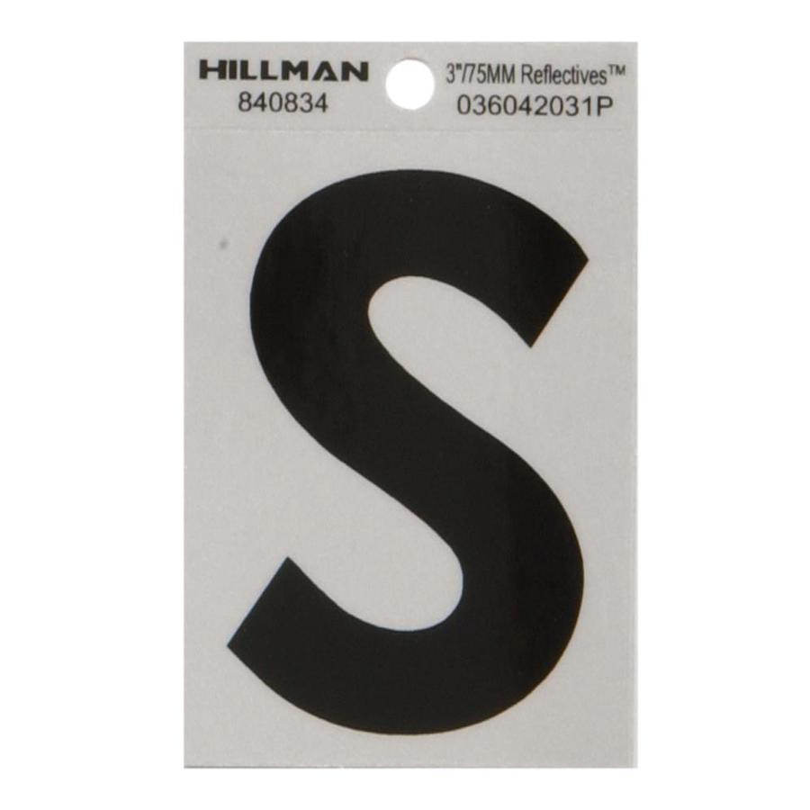 Hillman 3-in Black and Silver Reflective House Letter S
