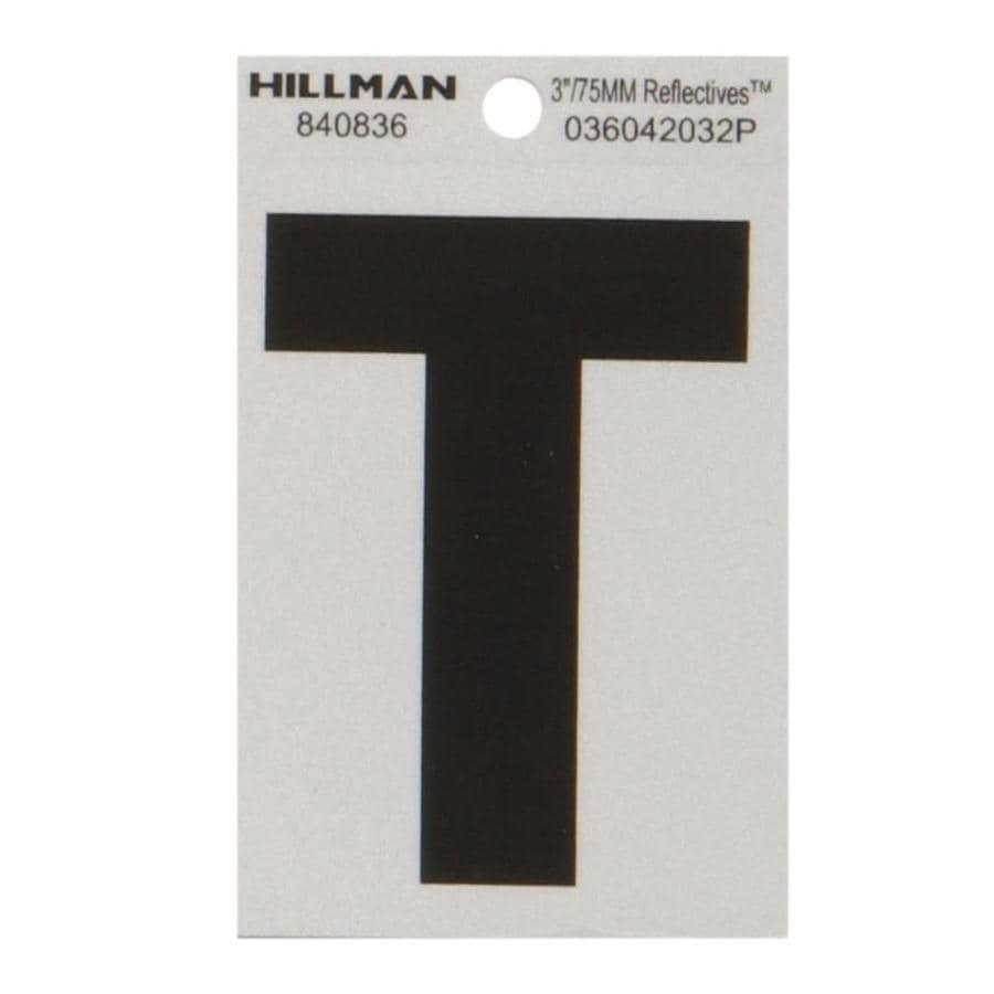 Hillman 3-in Black and Silver Reflective House Letter T
