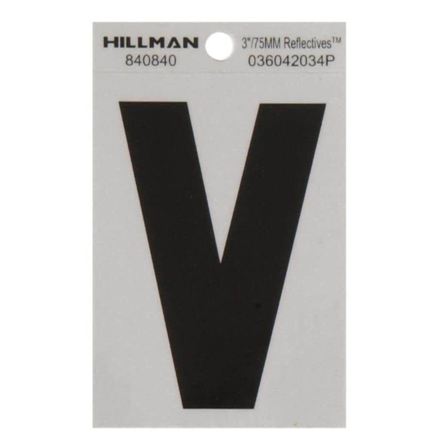 Hillman 3-in Black and Silver Reflective House Letter V