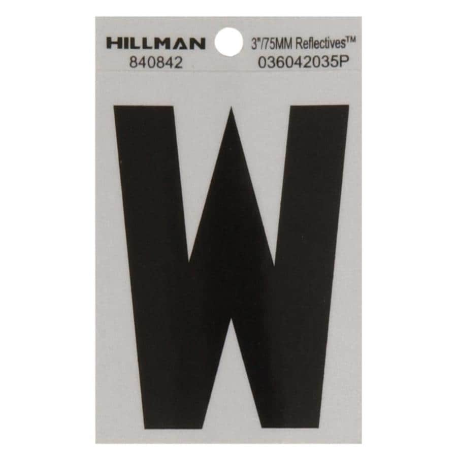 The Hillman Group 3-in Black and Silver Reflective House Letter W