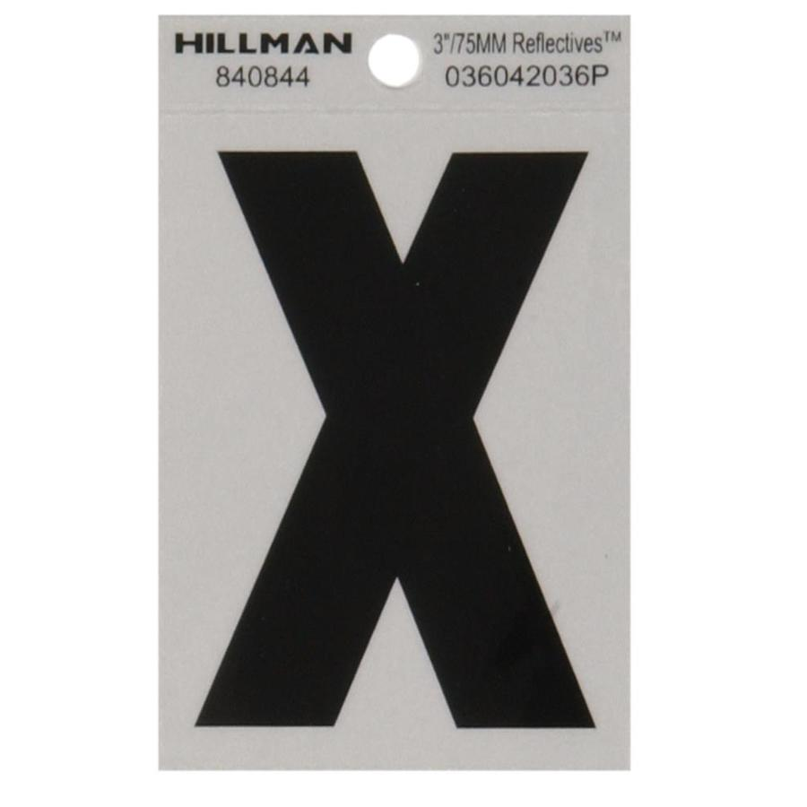 Hillman 3-in Black and Silver Reflective House Letter X