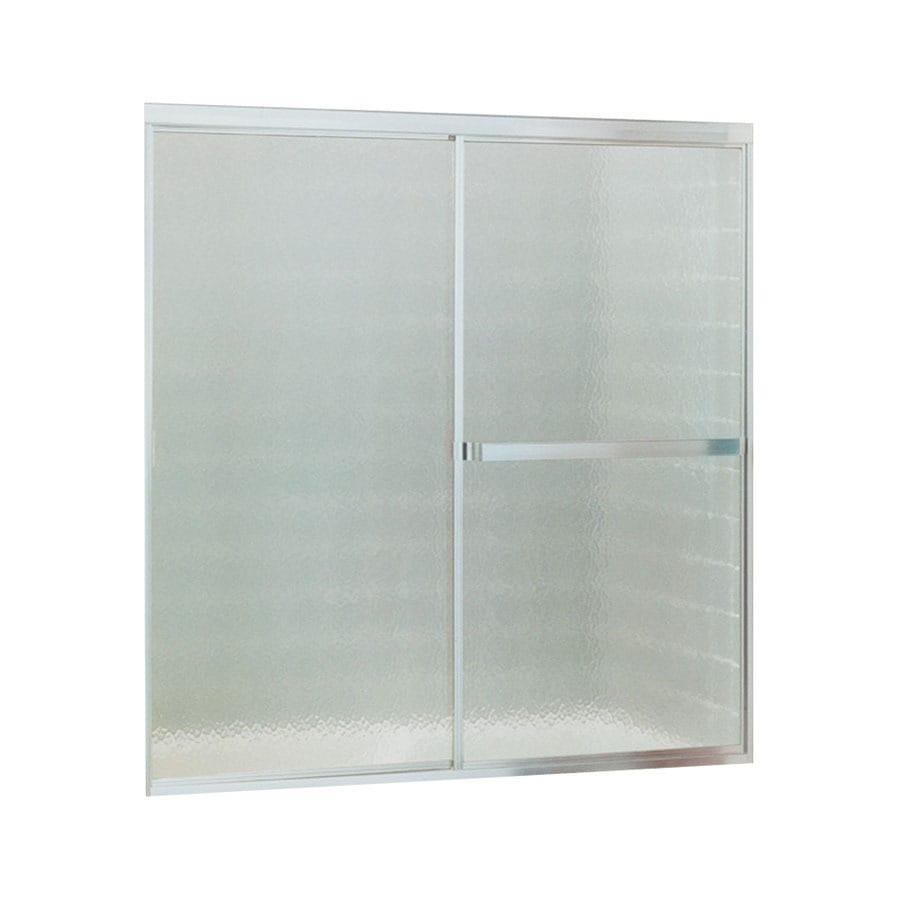 Sterling Standard 52-in W x 56.4375-in H Silver Framed Bathtub Door